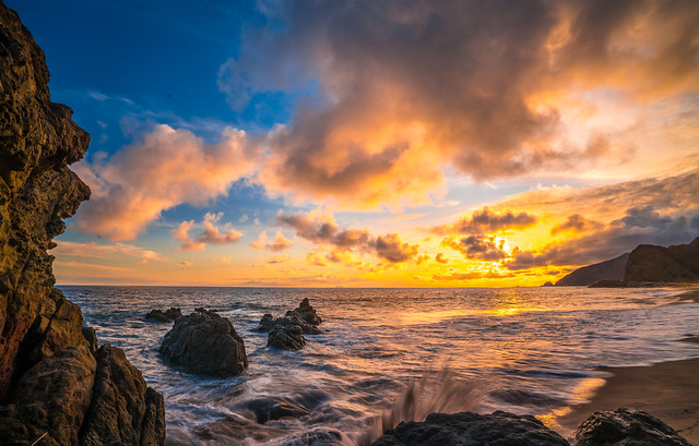 Malibu Beach Fine Art Landscape Seascape Photography: Sony A7RII Malibu Beach Pacific Ocean Fine Art Nature Photography: Brilliant California Ocean Colorful Clouds Long Exposure Water Reflections Scenic Vista View! Carl Zeiss Sony T* FE 16-35mm f/4 ZA OSS