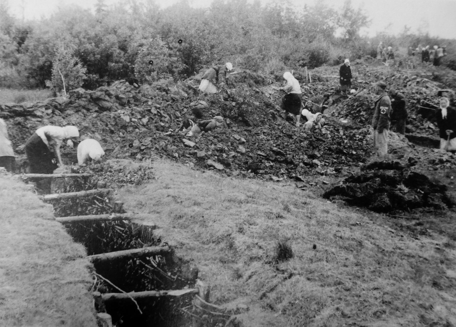 1942. Женщины работают на немецкой оборонительной линии на оккупированной территории Белоруссии.