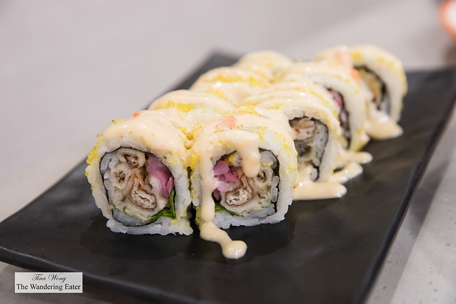 Spider roll - Soft Shell Crab, Japanese pickles and Greens roll, with Sweet Chili Mayo and Yuzu Tobiko