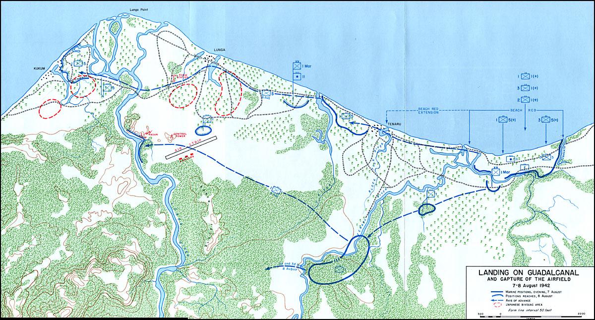 The landings on Guadalcanal, August 7-9, 1942