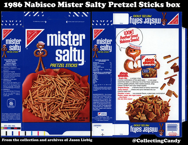 Nabisco - Mister Salty - Doo Dads - 10 oz snack package box - 1986