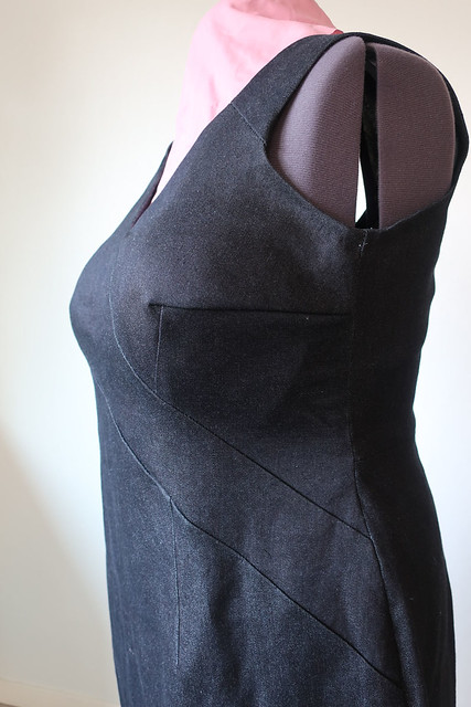 black denim dress dart detail