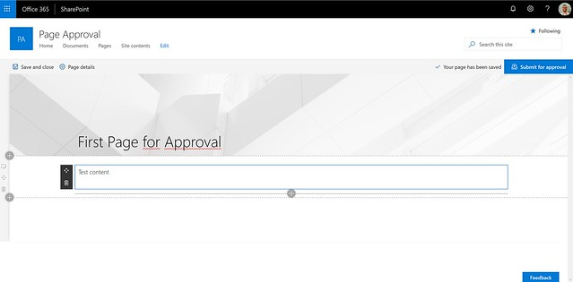 SharePoint Page Approvals - submit for approval button
