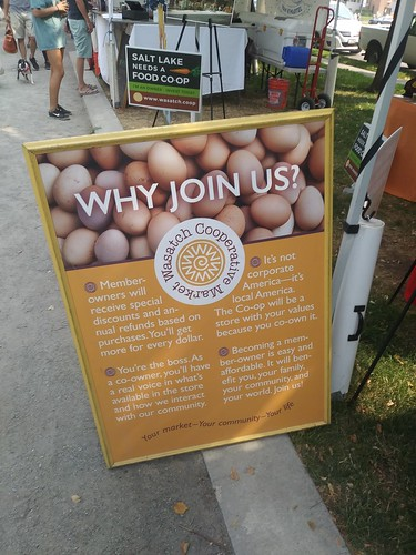Booth promoting the creation of a Wasatch Food Cooperative, Downtown Salt Lake City Saturday Farmers Market