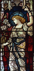angel with the lilies of the Annunciation (Henry Holiday for Powell & Sons, 1870s)