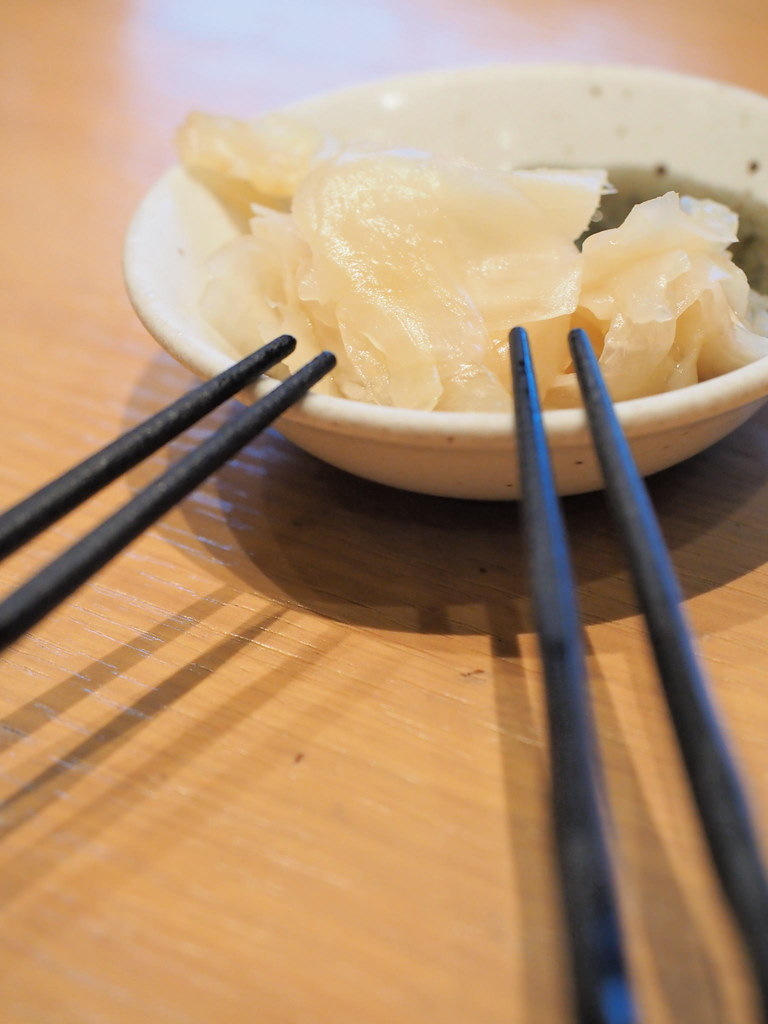 We like to have a plate of ginger when eating Japanese food.