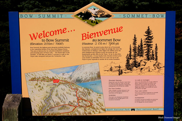 Bow Summit Interpretive Sign, Peyto Lake from Bow Summit Lookout, Banff National Park, Alberta, Canada