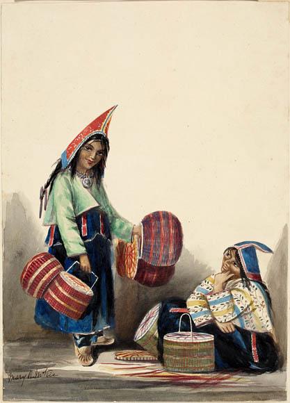 Mi'Kmaq Women Selling Baskets, Halifax, Nova Scotia, by Mary R. McKie c. 1845