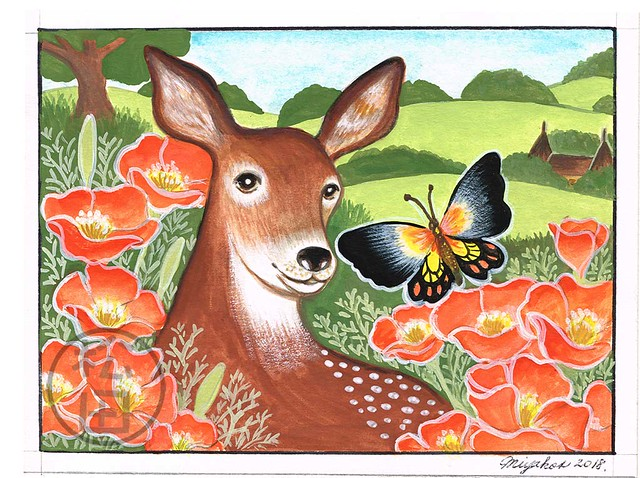 Deer, butterfly and nasturtium in the countryside