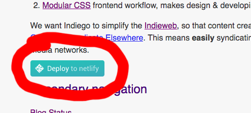 Screenshot showing Deploy to Netlify button on Indiego home page
