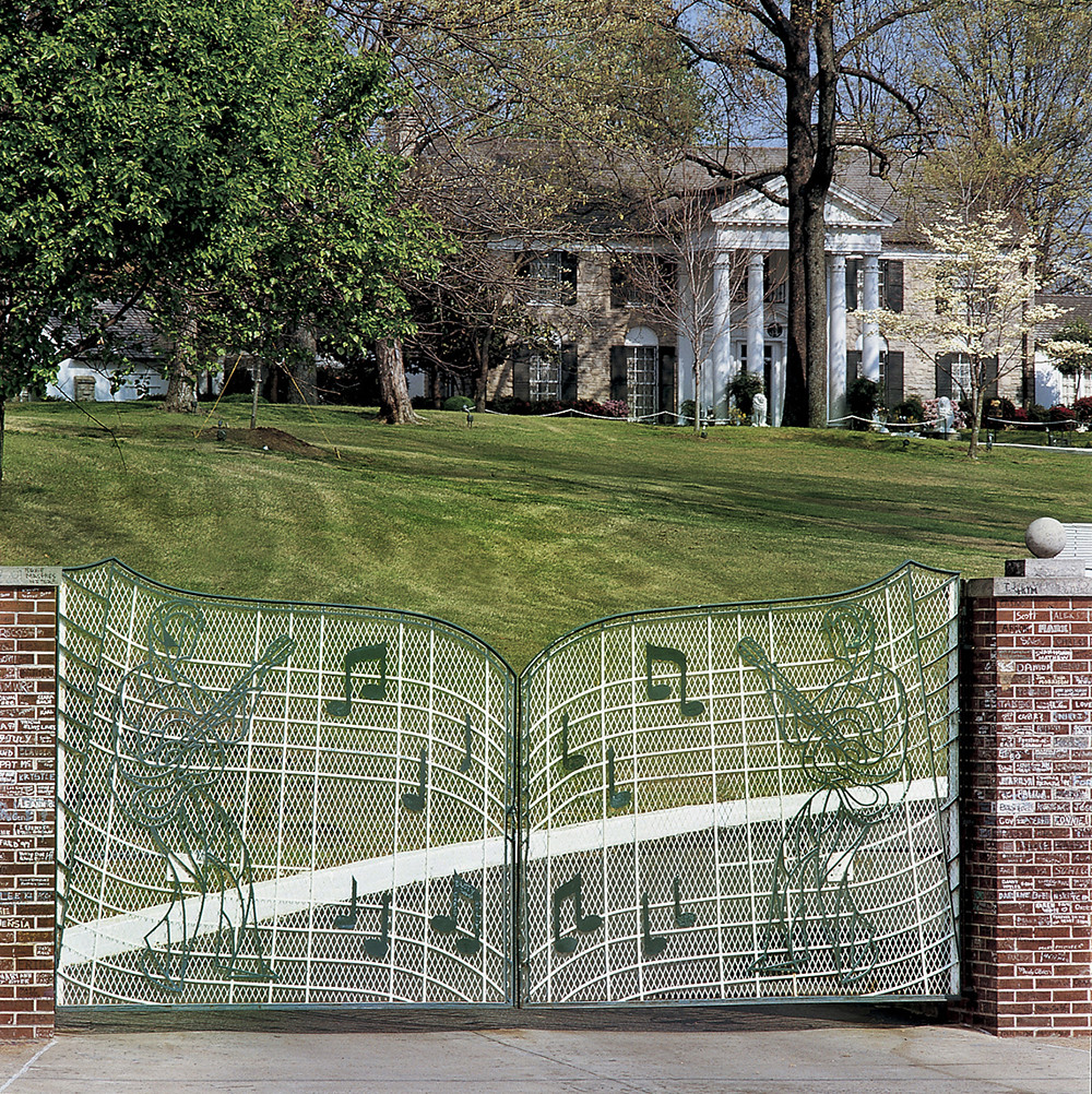 The gate at Graceland, Elvis Presley's home in Memphis, Tennessee.