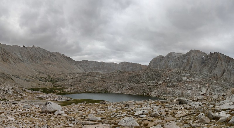 My first view of Guitar Lake as I crest the ridge on the John Muir Trail, Mount Hitchcock on the right
