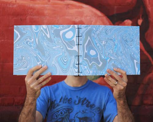 Suminagashi marbled sketchbook in size HUGE! Artist Crystal Shaulis, Lake Michigan Book Press