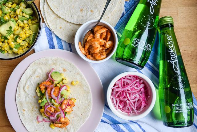 Cajun Prawn Tacos with Barbecue Corn and Avocado Salsa #tacos #mexican #cajun #prawn #shrimp #dinner #avocado #corn #sweetcorn