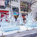 Ice sculptures on the pedestrian street