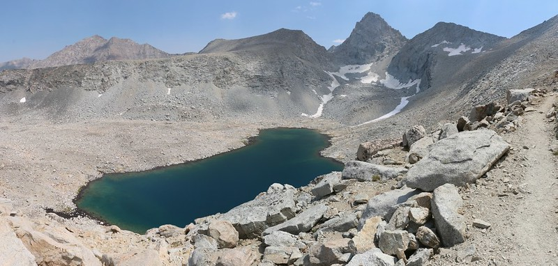 Mount Keith, Peak 13353, Junction Peak, and Forester Pass above the high lake on the John Muir Trail