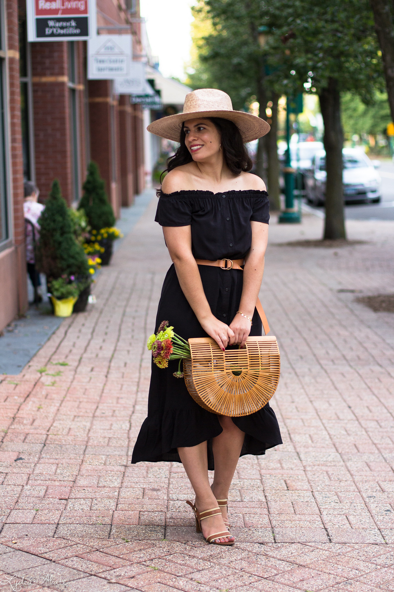 black off the shoulder dress, straw hat, bamboo bag-8.jpg