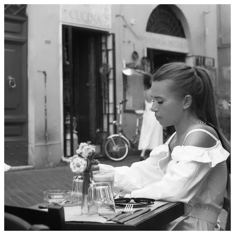Rome, Girl in a cafe