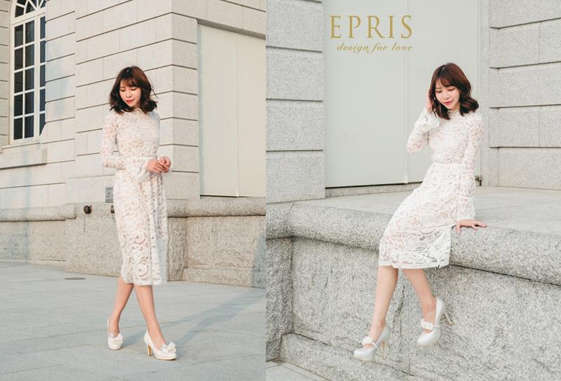 白色洋裝高跟鞋