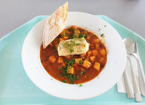 Codfish sicilian style with diced potatoes & ciabatta / Kabeljau auf sizilianische Art mit Kartoffelwürfeln & Ciabatta