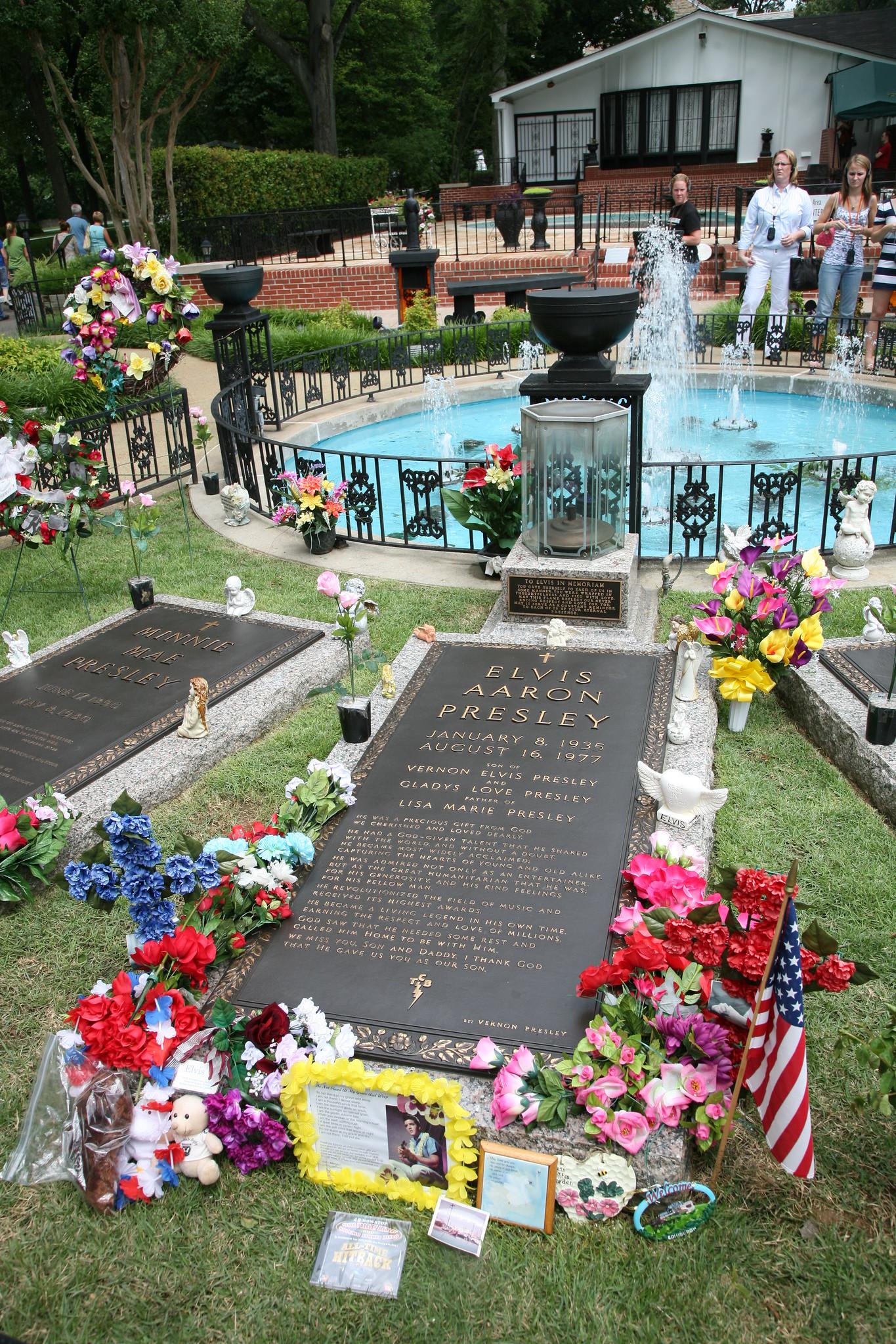Elvis Presley's gravestone at Graceland, Memphis, Tennessee. Photo taken on June 13, 2009.