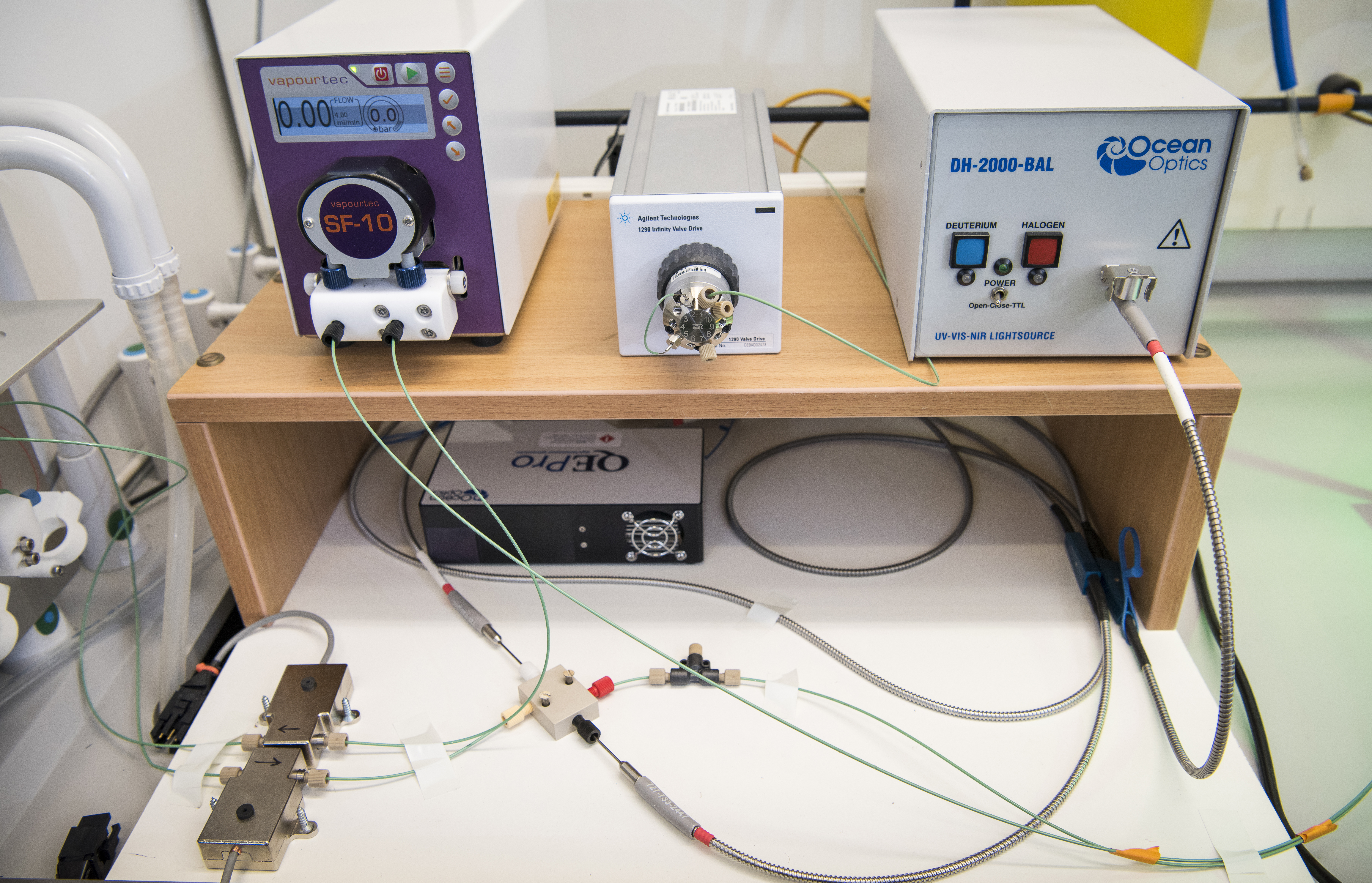 UV spectrometer, pump and HPLC valve