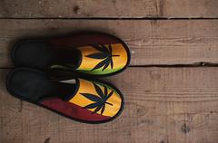 Colorful Shoes With Marijuana Symbol