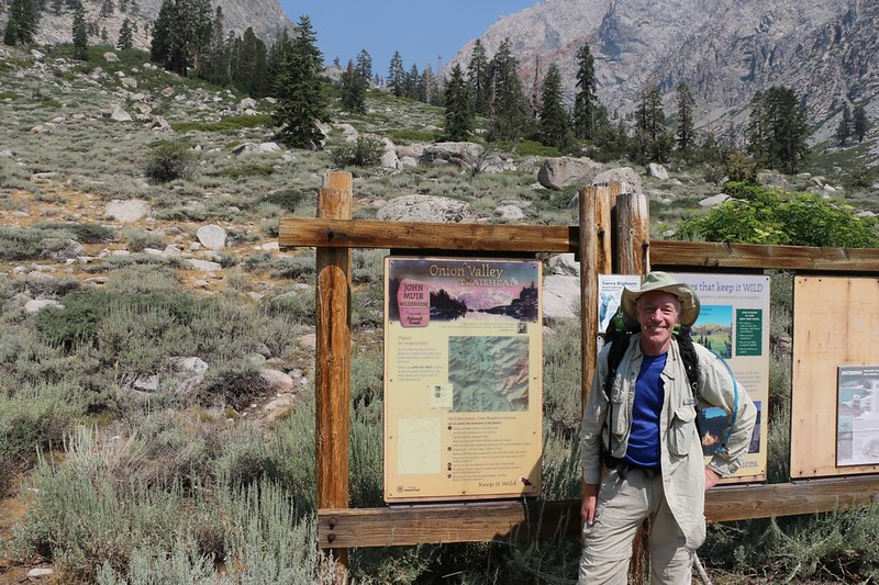 Me at the Onion Valley Trailhead Information Signs - I got started late thanks to bad luck at the lottery