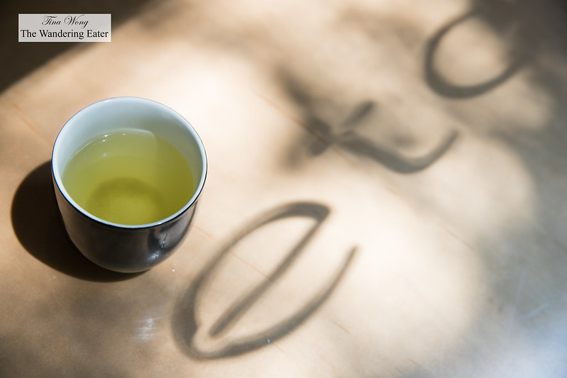 Sencha green tea with most of Neta's name displayed
