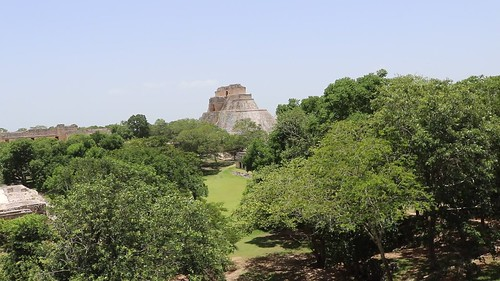 View of the central plaza at Uxmal from the Governor's palace platform.