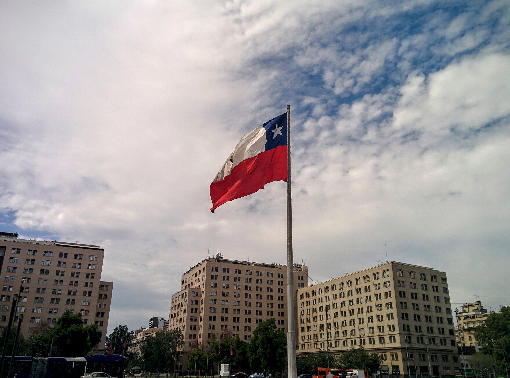 The Chilean flag outside La Moneda in Santiago
