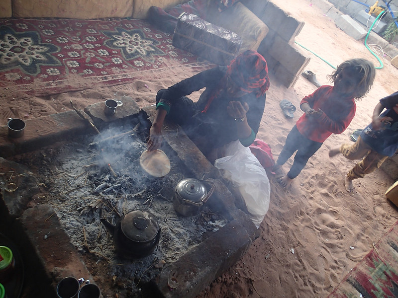 Mon, 2017-11-13 07:15 - Flat bread seems to be the staple food for Bedouins.  They are baked somewhere else, but are almost always reheated directly on firewood.
