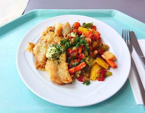 Fried Redfish on mediterranean vegetables with herb butter / Gebratener Rotbarsch auf mediteranem gemüse mit Kräuterbutter