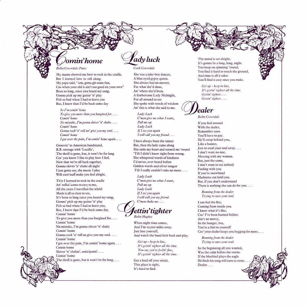 Deep Purple - Come Taste The Band - UK LP Inside 1