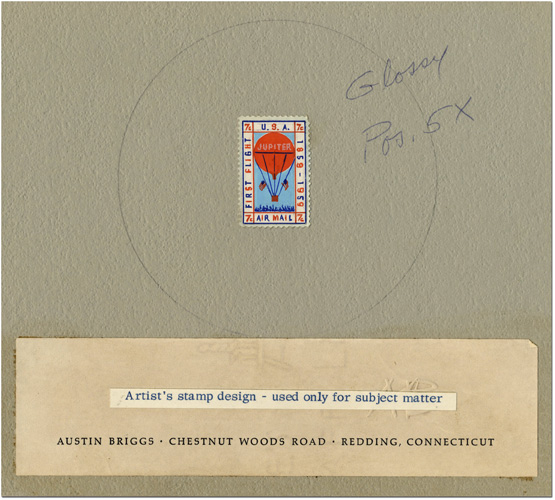 Artist Austin Briggs's original artwork for Scott #C59, the 1959 Balloon Jupiter stamp. The essay captures the key elements of a rising balloon with a cheering crowd below. At this stage, the inscription on the left reads FIRST FLIGHT. Photo courtesy of the Smithsonian National Postal Museum, Washington, D.C.