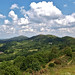 The Malverns looking north from the British Camp. The Worcestershire Beacon, whose summit at 425 metres (1,394 ft) is the highest point of the of Malvern Hills