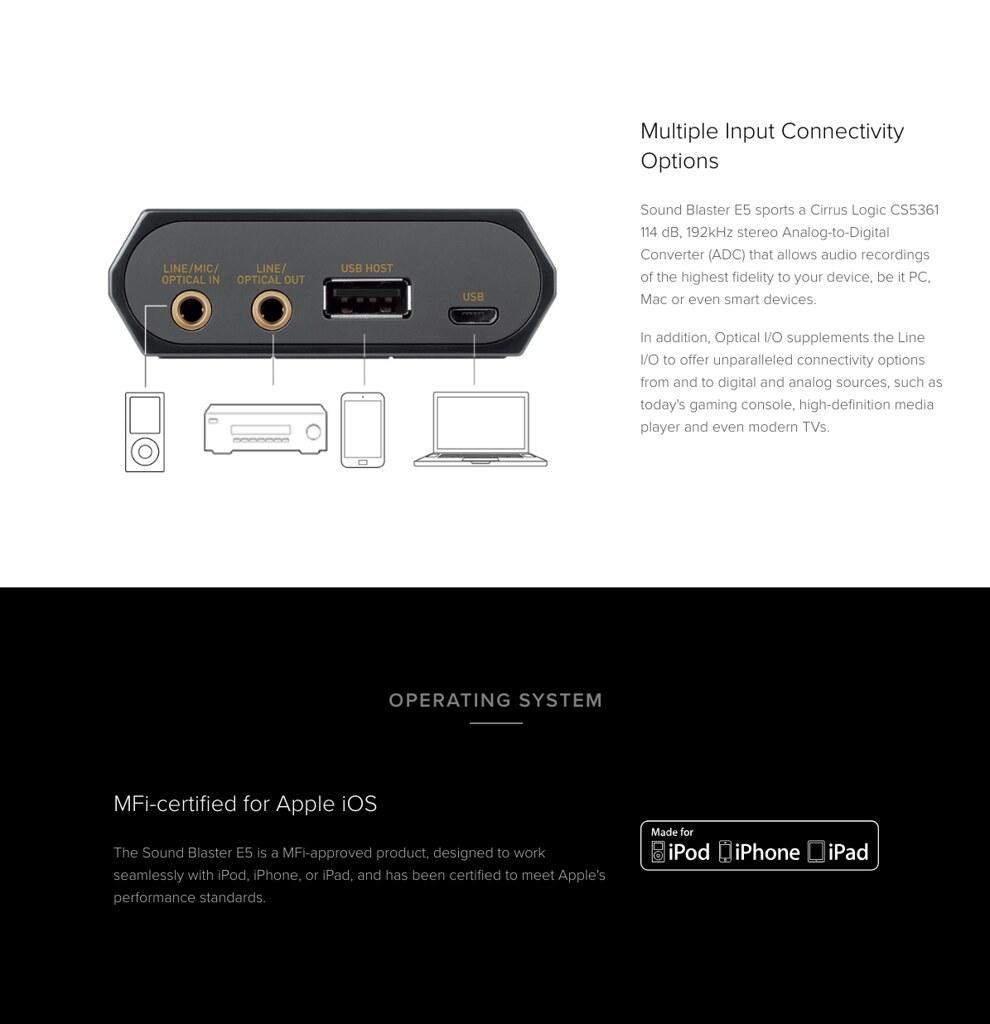 Details about Creative Sound Blaster E5 High Resolution USB DAC & Portable  Headphone Amplifier