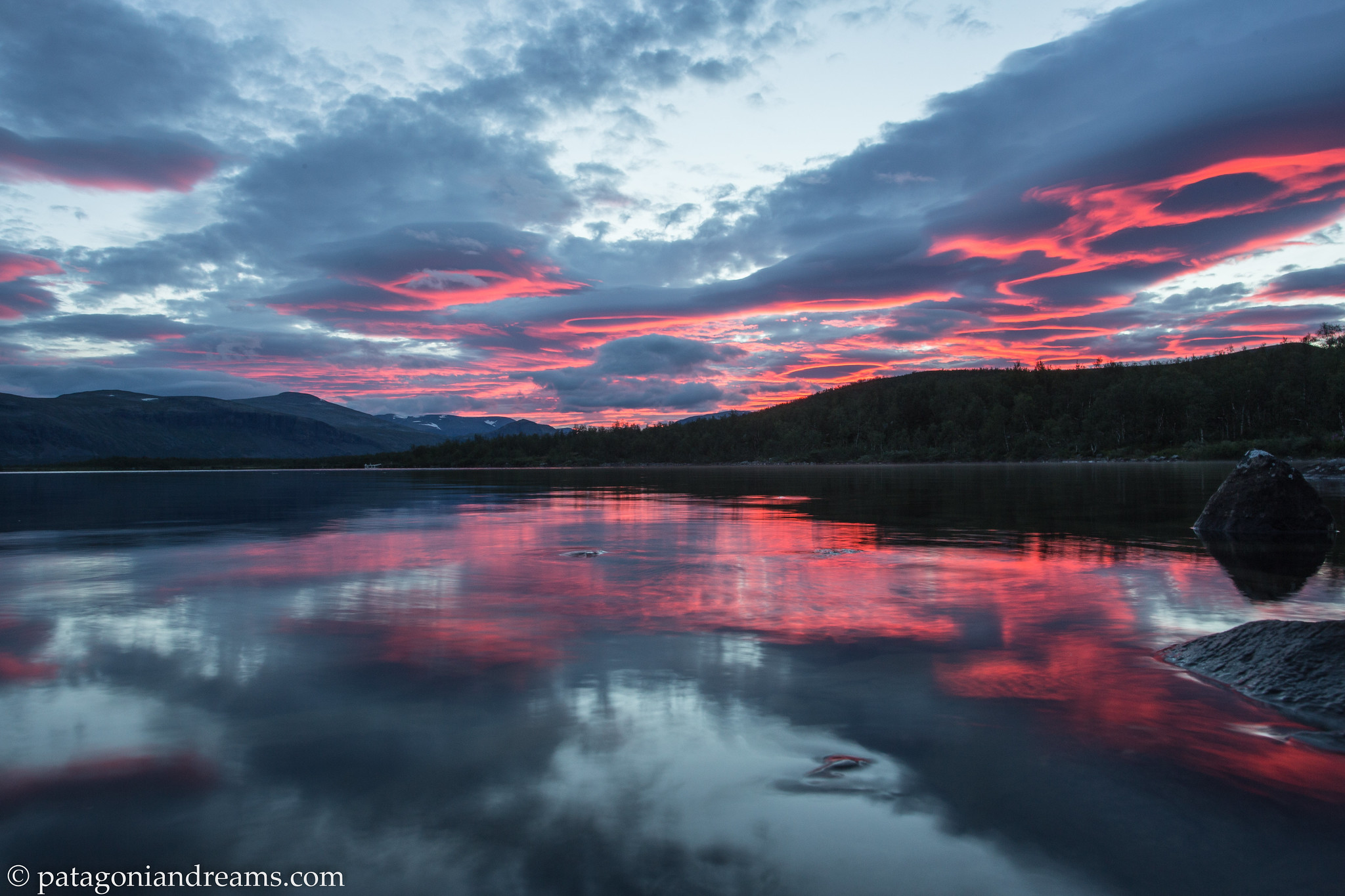 Watch the weather change. Dusk at Sitojaure. Swedish Lapland.