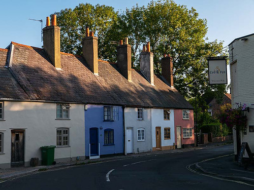 wallington terraced houses village cobpen dawn sunrise hampshire cottages