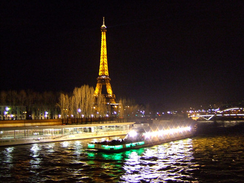 view of Eiffel Tower with lights at night