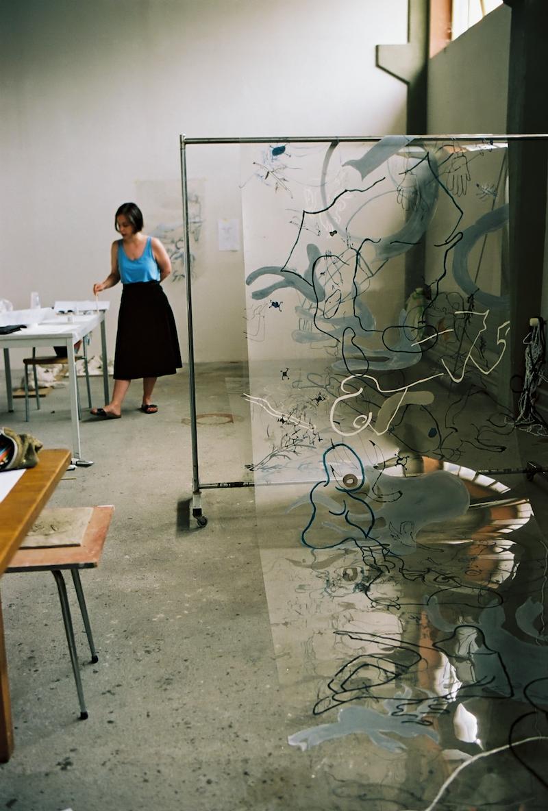 Ani Schulze in the Guest Studio of Sitterwerk in Sankt Gallen, 2017, Photo: Katalin Deér