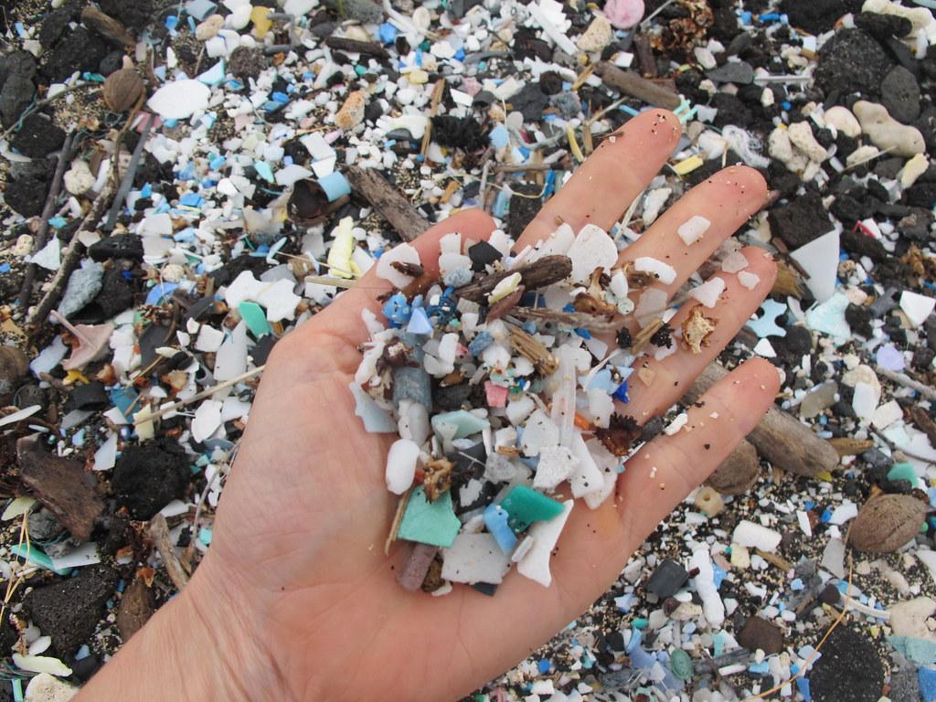 Poluição por plásticos, em praia no Havaí