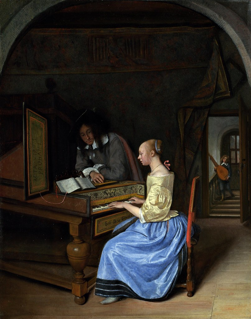 Jan Steen - A Young Woman Playing a Harpsichord to a Young Man (c.1659)