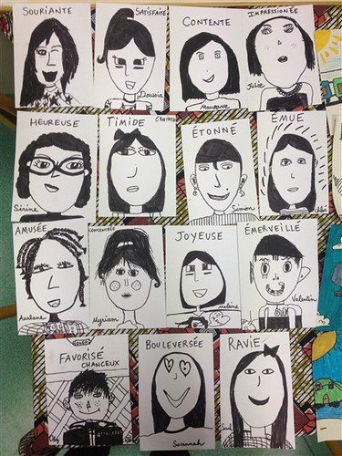 portraits expressing feelings about first session. From American Elementary School Kids to Meet Their French Video Pals in Paris
