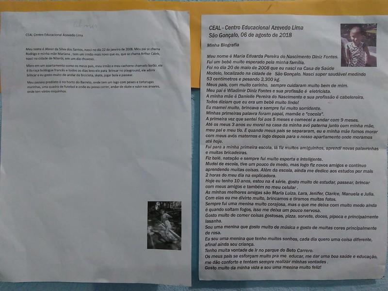 4º ano - Trabalho sobre autobiografia
