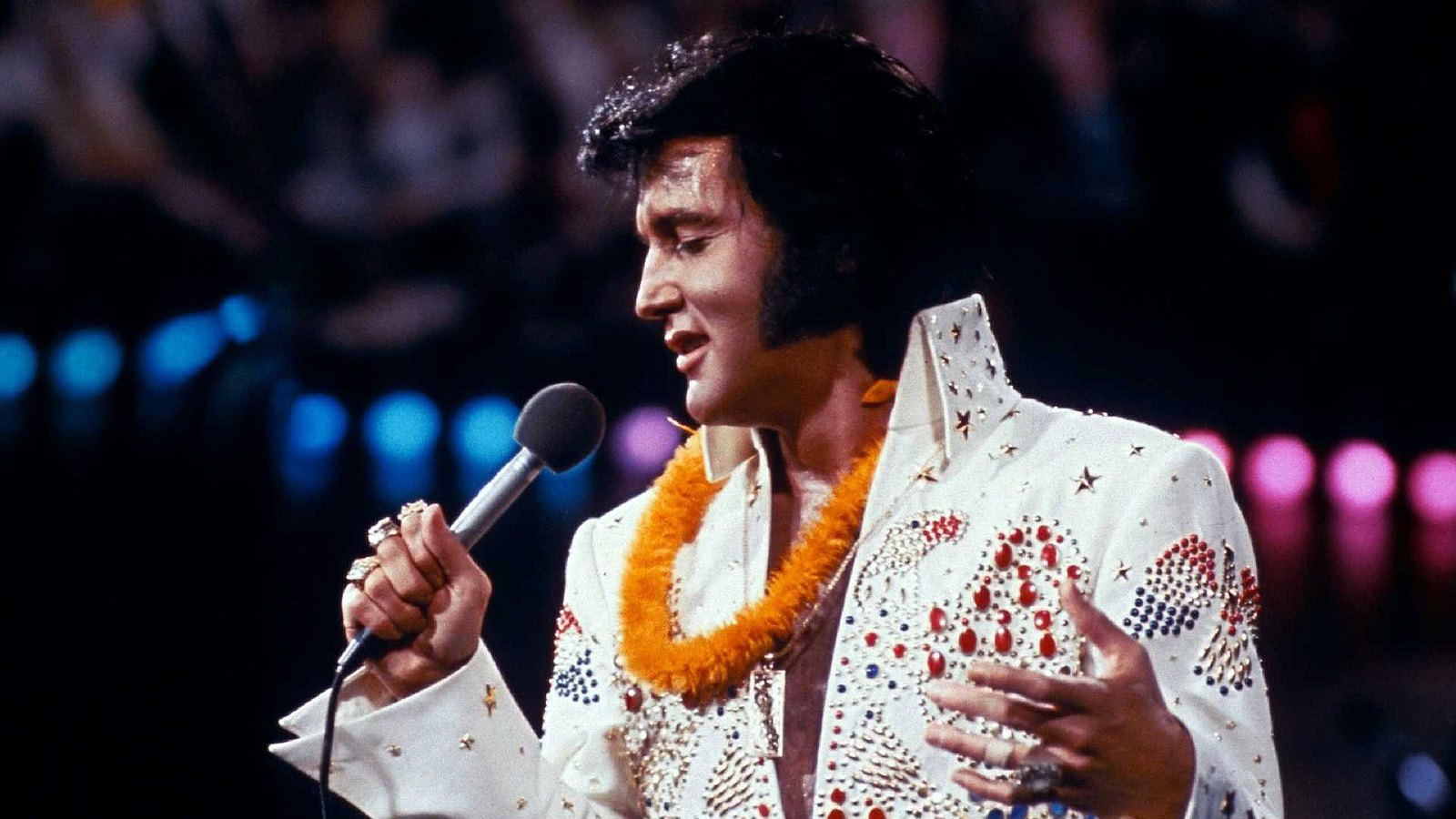 Presley in Aloha from Hawaii, broadcast live via satellite on January 14, 1973. The singer himself came up with his famous outfit's eagle motif, as