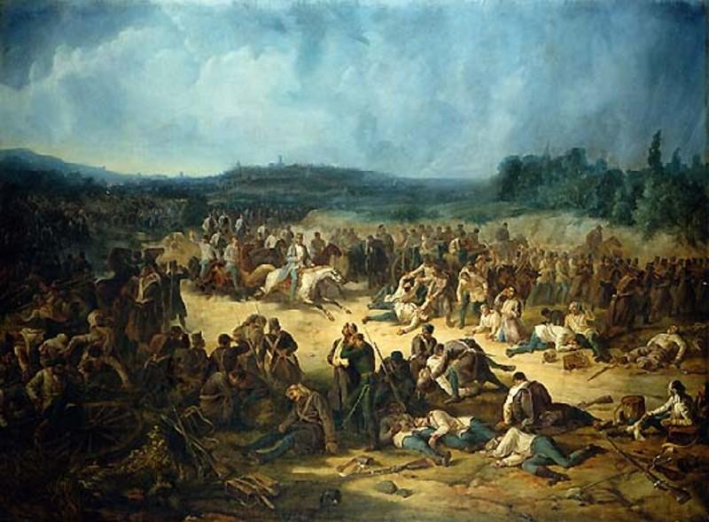 Henry Dunant at the Battle of Solferino, June 24, 1859.