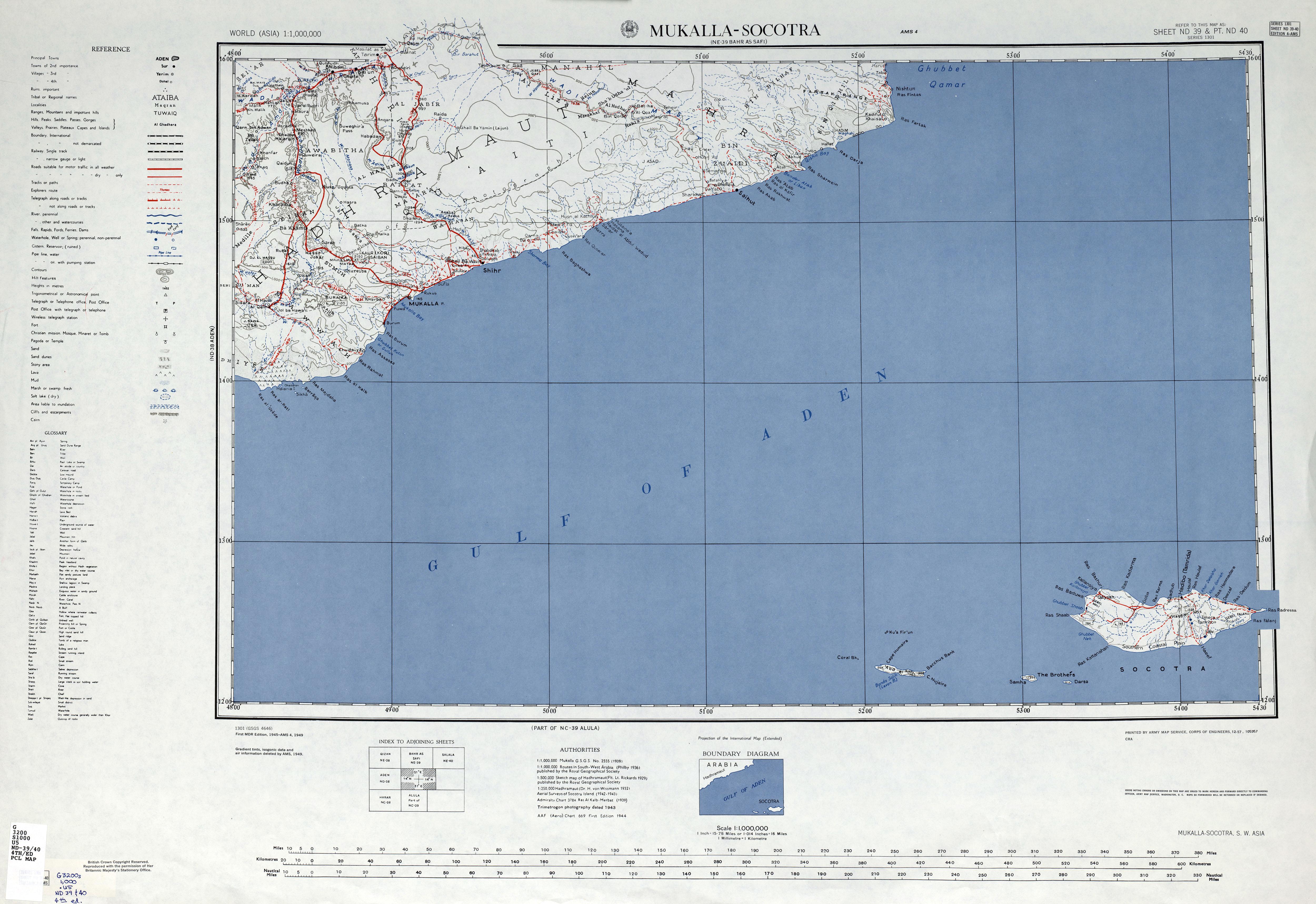 Map of the region surrounding Mukalla, 1949