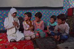 Kids inside the kitchen of a traditionnal Wakhi house  in Chapursan valley 06/08/2018 :copyright: Bernard Grua