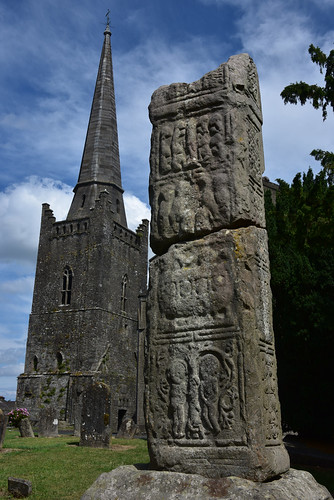Medieval high cross and Enlightenment spire
